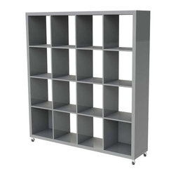 Eurostyle - Eurostyle Saul 4 x 4 Shelving Unit w/ Casters in Gray Lacquer - 4 x 4 Shelving Unit w/ Casters in Gray Lacquer belongs to Saul Collection by Eurostyle Let's get organized shall we? Books, treasures and tchotchkes all find a place to be easily seen and easily found; eight compartments for a comfortable symmetry. Storage Frame (1), Storage Cubes (1)