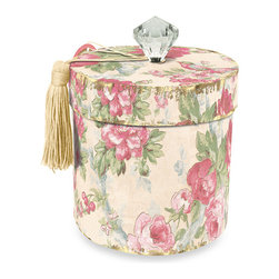 Vintage Rose Toilet Tissue Holder - The bathroom is the perfect place to get creative with tiny, delicate details. This vintage tissue holder's antique rose pattern, big diamond on the lid and silky golden tassel will bring some serious panache to a small space.
