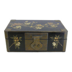 Golden Lotus - Chinese Rectangular Golden Scenery Lacquer Box - This is a decorative box with black lacquer base and golden flower graphic. Metal hardware is added as an accent.