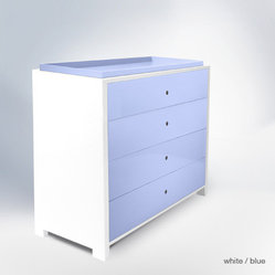 Ducduc Parker 4-drawer Changer, White/Blue - It's a changing table/commode all in one. Yep. One day you can use for something else, but right now, please, it's for baby — oh, and your eyes, of course.