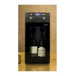 Vinotemp - Compressor Wine Dispenser - Includes two gas cartridges. Holds upto 2 bottles. Straight forward push button controls. Displays open bottles through insulated double-paned glass. Keeps open wine fresh for several weeks through the use of argon or nitrogen gas. Blue interior LED lighting creates gorgeous wine display. Digital LED temperature display. Ideal for home or commercial use. Perfect for restaurants and clubs. Temperature range: 45 - 65 degree F. Made from glass. Made in USA. 9.5 in. W x 16.88 in. D x 20.75 in. H (37.5 lbs.). Warranty. Winmate Cooling Installation Instructions