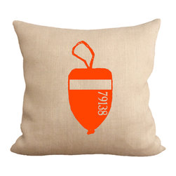Fiber and Water - Orange Lobster Buoy Pillow - A great depiction of a Lobster Buoy. The numbers represent the Lobsterman's permit #. The bright colors are a a beacon when at sea. This hand-printed piece of art has beautiful texture from a combination of natural burlap and water-based paints. Hand-pressed onto natural burlap using water-based inks.