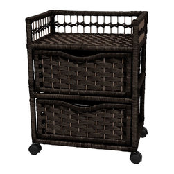 Oriental Unlimited - 2-Drawer Natural Fiber Chest on Wheels (Black - Color: BlackRattan style woven spun plant fiber cord in rich and deep dyed colors. Lightweight 2 drawer chests built on sturdy Spruce wood frames. Drawers provide lots of practical storage space. Extra portable design with swivel caster wheels. Over-all: 17.25 in. W x 12.5 in. D x 22 in. H (6.5 lbs.). Inside drawer: 14 in. W x 10.25 in. D x 6 in. H. Top Shelf: 15.5 in. W x 12 in. D x 4 in. H