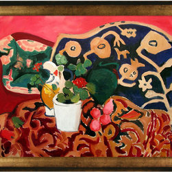 """overstockArt.com - Matisse - Spanish Still Life - 24"""" X 36"""" Oil Painting On Canvas Hand painted oil reproduction of a famous Matisse painting, Spanish Still Life . Originally done in 1910, today it has been carefully recreated detail by detail, color by color to near perfection. Like Picasso, Matisse is known to be one of the foremost artists of modern times. After a short bout of illness, Matisse gave up the study of law to take up painting. He was one of the pioneers of Fauvism, a style utilizing vivid color for its sensual and decorative value. This work of art has the same emotions and beauty as the original. Why not grace your home with this reproduced masterpiece? It is sure to bring many admirers!"""