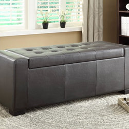 Homelegance - Homelegance Tigard Lift-Top Storage Ottoman in Dark Brown Bi-Cast Vinyl - With a clean transitional style, the functional storage ottoman of the Tigard Collection will provide the extra storage or seating space that your home needs. The track-style side supports buffer the tufted lift top of the unit, which opens to reveal the storage space below. When closed, the unit can function as additional seating or as an occasional piece. Covered in a fashionable brown bi-cast vinyl, makes this unit a perfect fit in many home decors. - 4603PU.  Product features: Tigard Collection; Transitional Style; Tufted lift top; Brown Bi-Cast Vinyl Cover. Product includes: Ottoman (1). Lift-Top Storage Ottoman in Dark Brown Bi-Cast Vinyl belongs to Tigard Collection by Homelegance.