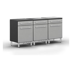 """Ultimate Garage - PRO 1-Drawer 1-Door Base Cabinet Package - Unique Polyurethane Coated Cabinet Fronts in Silver on Strong 3/4"""" MDF. Full Radius Cabinet Profile for Custom Shop Styling and Reduced Sharp Edges. Strong 3/4"""" PB Cabinet Construction with Textured PVC Grey Laminate, Which Provides Stylish 2-Tone Color. Strong 1"""" Thick Fully Wrapped and Edge Banded Adjustable Shelves with 200 lb Load Rating. Fully Adjustable Recessed Euro Hinges and Smooth Operating Ball Bearing Drawer Glides. Jumbo Brushed Chrome Cabinet Handles Double as Shop Towel holder. 6"""" Adjustable Aluminum Feet for Uneven Surfaces."""
