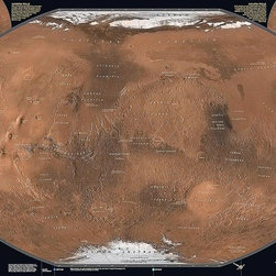 Magic Murals - Mars Map Wall Mural  -- Self-Adhesive Wallpaper in Various Sizes by MagicMurals - The planet Mars is fourth from the sun in the solar system. It is nicknamed the red planet because of its red appearance. Artwork. National Geographic Collection / NG Maps 2010/2012.