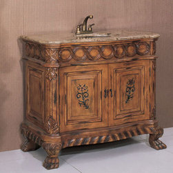 Legion Furniture 41 Inch Brown Marble Sink Chest Vanity - Legion Furniture 41 Inch Brown Marble Sink Chest Vanity is suited for elegant surroundings. Classically designed with cabriole legs and ample carving details, this tan brown finished bath vanity cabinet with two door storage is crowned by a brown marble vanity surface and antique brass sink.