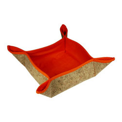 The Felt Store - Felt Table Basket 7 x 7 x 3.5 Inch - Orange Cotton Lining - This charming little basket can hold anything in the home or office. Perfect for adorning kitchen tables, coffee tables or work tables. Crafted of 100% wool and lined with brightly colored cotton. Storage area is approximately 7 inches square by 3.5 inches deep.