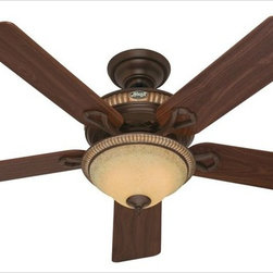 Hunter - Hunter 53134 Aventine 52 In. Cocoa Ceiling Fan W/ Spanish Gold Accents and 5 Dar - Hunter combines 19th century craftsmanship with 21st century design and technology to create ceiling fans of unmatched quality, style, and whisper-quiet performance. Using the finest materials to create stylish designs, Hunter ceiling fans work beautifully in today's homes and can save up to 47% on cooling costs! Product Features :