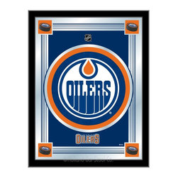 """Holland Bar Stool - Holland Bar Stool Edmonton Oilers Logo Mirror - Edmonton Oilers Logo Mirror belongs to NHL Collection by Holland Bar Stool The perfect way to show your team pride, our logo mirror displays your team's symbols with a style that fits any setting.  With it's simple but elegant design, colors burst through the 1/8"""" thick glass and are highlighted by the mirrored accents.  Framed with a black, 1 1/4 wrapped wood frame with saw tooth hangers, this 17""""(W) x 22""""(H) mirror is ideal for your office, garage, or any room of the house.  Whether purchasing as a gift for a recent grad, sports superfan, or for yourself, you can take satisfaction knowing you're buying a mirror that is proudly Made in the USA by Holland Bar Stool Company, Holland, MI.   Mirror (1)"""