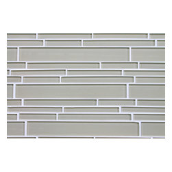 """Rocky Point Tile - 4"""" x 6"""" Sample - Sheep`s Wool Light Beige Random Strip Glass Mosaic Tiles - Soften up your kitchen or bathroom with heavenly sheep's wool beige glass mosaic tiles. The creamy brownish gray looks beautiful next to wood cabinetry and countertops in the kitchen, or paired with earth-toned towels and decor in the bathroom."""