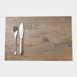 Faux Bois Placemat - Do you like the rustic look of wood but don't like having to care for it? These faux-wood vinyl placemats will withstand spills with grace. Matching coasters are available too.