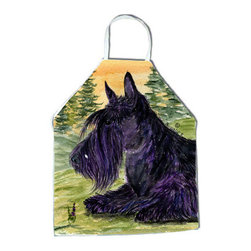 Caroline's Treasures - Scottish Terrier Apron SS8511APRON - Apron, Bib Style, 27 in H x 31 in W; 100 percent  Ultra Spun Poly, White, braided nylon tie straps, sewn cloth neckband. These bib style aprons are not just for cooking - they are also great for cleaning, gardening, art projects, and other activities, too!