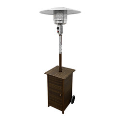 AZ Patio Heaters - Tall Square Dark Wicker Patio Heater - 87in. tall resin wicker patio heater with adjustable table. Square table design. Variable temperature control, up to 41,000 BTU's. Wheels for easy mobility, thermocouple and anti-tilt safety devices. Burner cover and regulator included. CSA approved. Uses a 20lb propane tank (not included).