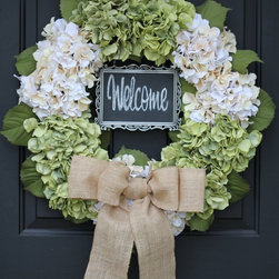 Sage Green & Cream Hydrangea Wreath with Unique Chalkboard Greeting - Write your - Sage Green & Cream Hydrangea Wreath with Metal framed Chalkboard and Burlap Bow.  Write your own personalized greeting!  The back of the wreath has a wire hook for hanging.