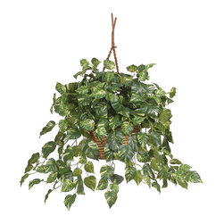 Nearly Natural - Pothos Hanging Basket Silk Plant - No indoor plant is more interesting to look at than a plant in a hanging basket. However, with typical live hanging baskets, you get more leaves on the floor than on the plant! Not so with our leafy and lifelike Pothos Hanging Basket - it will give you years of carefree enjoyment without the work. Composed of hundreds of shiny pothos leaves cascading downward in a roped woven hanging basket, this arrangement is beautiful yet practical for today�s busy lifestyles.