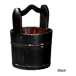 Antique Revival - Tianjin Vintage Wooden Handled Bucket - This vintage wooden water bucket with is topped with a grooved handle. Modeled after an authentic piece of history,this decor piece is handcrafted from elm wood. The pail is perfect for accenting your home and for practical use indoors.