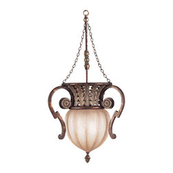 Fine Art Lamps - Stile Bellagio Pendant, 836542ST - This enchanting globe pendant of handblown, textured glass glows softly like the moon, adorned with ornamental ironwork handles in a crackled tortoise finish with silver-leaf accents. Inspired by the timeless romance of Bellagio, Italy, this piece would create a dreamy atmosphere in the bedroom or bathroom.