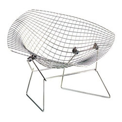 Vitra - Miniature Diamond Chair by Vitra - Originally a sculptor, Harry Bertoia took the techniques he used to manipulate metal wire and translated them into furniture design. In 1952, the result was the Diamond Chair, made by strategically bending a quadratic lattice of steel wire into an organically shaped diamond embraced by an iron base. The Vitra Miniature Diamond Chair perfectly recreates the airiness and smooth geometry at 1:6 scale. Founded in Switzerland in 1950, Vitra produces intelligent and inspiring furniture and accessories for the home, office and other public spaces. Ever mindful of the importance of sustainability in design, Vitra creates furnishings with high quality and versatile style that ensures functional and aesthetic enjoyment for the long term.