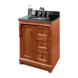 Pegasus - Naples Single Vanity in Warm Cinnamon Finish - Choose Size: SmallManufacturer SKU: NACA2418D. Vanity top, faucet, sink, toothbrush holder and backsplash not included. Transitional design. One door. Three full extension dovetail drawers. Black birdcage style hardware. Easy to clean PVC coated maple interior. Plywood side construction. No assembly required. Small: 24 in. W x 18 in. D x 34 in. H (55 lbs.). Large: 24 in. W x 21.56 in. D x 34 in. H (55 lbs.)