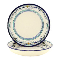 Artistica - Hand Made in Italy - VECCHIA DERUTA LITE: Round Flat Pasta/Soup Bowl - VECCHIA DERUTA Collection: (Old Deruta) - A richer and more formal version of the renowned Ricco Deruta pattern. Featuring scalloped rim plates with a dominant royal blue trim. Both inspired by the frescoes of the master Renaissance artist Raphael.