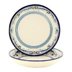 Artistica - Hand Made in Italy - Vecchia Deruta Lite: Round Flat Pasta/Soup Bowl - Vecchia Deruta Collection: (Old Deruta)