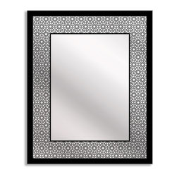Gallery Direct - Gallery Direct Bold Geometry Art Mirror, Rectangle - 18x22 - Reflect your artistic side with a mirror that is both beautiful and functional. A geometric border is printed directly onto the surface of the framed mirror with the highest quality latex inks. The result is a stunningly unique mirror. The perfect design solution for an entryway, gallery wall, bedroom or dorm room.