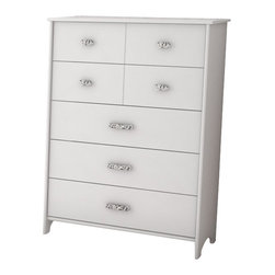 South Shore - South Shore Sabrina 5 Drawer Chest in Pure White - South Shore - Chests - 3650035 - This chic chest will give a glamour flair to your little princess room. The Sabrina 5-Drawer chest in Pure White finish offers the opportunity of arranging the drawers in different styles. Put the ones with decorative grooves on top for a classic look, or alternate between drawer types for a trendier feel. The absence of kickplate gives the piece a light, airy feel, while the jewel like chromed metal handles will charm younger and older girls alike. The drawers are equipped with polymer glides that includes dampers and catches for enhanced safety.