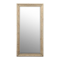 "Cooper Classics - Baker Light Natural Rustic Wood Rectangular Mirror - Light Natural Rustic Wood Finish; Beveled Mirror, Frame Dimensions: 36""W X 72""H, Mirror Dimensions: 27.5""W X 63.5""H, Finish: Light Natural Rustic Wood, Material: Wood, Beveled: Yes , Shape: Rectangular, Weight: 65 lbs, Included: Brackets, Ready to Hang Vertically or Horizontally"