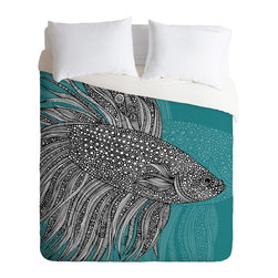 DENY Designs - Valentina Ramos Beta Fish Duvet Cover - Turn your basic, boring down comforter into the super stylish focal point of your bedroom. Our Luxe Duvet is made from a heavy-weight luxurious woven polyester with a 50% cotton/50% polyester cream bottom. It also includes a hidden zipper with interior corner ties to secure your comforter. it's comfy, fade-resistant, and custom printed for each and every customer.