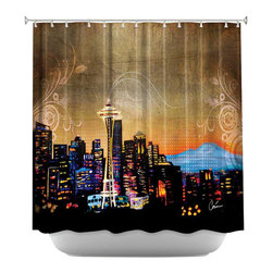 DiaNoche Designs - Shower Curtain Artistic - Seattle Skyline - DiaNoche Designs works with artists from around the world to bring unique, artistic products to decorate all aspects of your home.  Our designer Shower Curtains will be the talk of every guest to visit your bathroom!  Our Shower Curtains have Sewn reinforced holes for curtain rings, Shower Curtain Rings Not Included.  Dye Sublimation printing adheres the ink to the material for long life and durability. Machine Wash upon arrival for maximum softness. Made in USA.  Shower Curtain Rings Not Included.