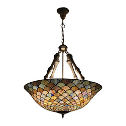 Peacock Feathers Tiffany Art Ceiling Lamp - The great Tiffany style pendant light has a stained glass shade with amazing peacock feather design.  Place this fixture in your room will add magic beauty, and make you have a refreshing feeling. The attached chain is provided that allows the height of it adjustable.