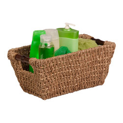 Honey Can DO - Seagrass Basket with Handles, Small - Honey-Can-Do International Seagrass Basket with Handles - Small. Wood handle. Made of sustainable materials. Coordinating pieces.