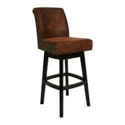 Pastel Lake Village 30 in. Swivel Bar Stool - Feher Black wtih Leather Seat - Not only does the Pastel Lake Village 30 in. Swivel Bar Stool - Feher Black offer a perfect blend of function and durability it also makes an impression with its stylish transitional design. And the best part is that it's super comfy! The generous seat and supportive back will envelope you in luxurious comfort for hours on end while the full-ring footrest makes getting in and out of the stool a breeze. Plus the convenient swivel feature lets you stay up to speed with everything that happening around you. Finished in Feher Black this stylish bar stool boasts a solid wood frame and legs that will stand up well to your active lifestyle and offer years of enjoyment. Choose from fabric or black or brown leather upholstery to blend seamlessly with your existing decor. A great addition to your bar den or kitchen area this bar stool is just what you need to dine entertain or unwind in style. Please note: This item is not intended for commercial use. Warranty applies to residential use only.