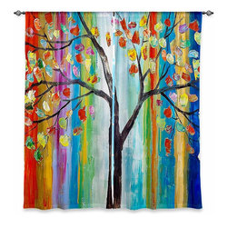 """DiaNoche Designs - Window Curtains Unlined - Lam Fuk Tim Color Tree - DiaNoche Designs works with artists from around the world to print their stunning works to many unique home decor items.  Purchasing window curtains just got easier and better! Create a designer look to any of your living spaces with our decorative and unique """"Unlined Window Curtains."""" Perfect for the living room, dining room or bedroom, these artistic curtains are an easy and inexpensive way to add color and style when decorating your home.  The art is printed to a polyester fabric that softly filters outside light and creates a privacy barrier.  Watch the art brighten in the sunlight!  Each package includes two easy-to-hang, 3 inch diameter pole-pocket curtain panels.  The width listed is the total measurement of the two panels.  Curtain rod sold separately. Easy care, machine wash cold, tumble dry low, iron low if needed.  Printed in the USA."""