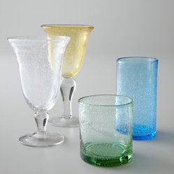 "Horchow - ""Iris"" Glassware - Substantial glassware adds interest to table settings with its irregular shapes and bubbles. Select color when ordering. Dishwasher safe. Each size sold in sets of four. Goblet holds 14 ounces. Iced-tea glass holds 18 ounces. Highball holds 17 ou..."