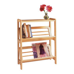 Winsomewood - Bookshelf with Slanted Shelf - With tilted shelves, this 2-Tier bookshelf displays books and magazines so that the spines are easy to view. The solid top can also be used as a side table perfect for holding a lamp or vase of flowers.