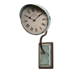 Newton Large Clock on a Stand - With a pale blue he, the Large Newton clock wall piece is inspired by vintage relics and adds to any shabby chic decor.