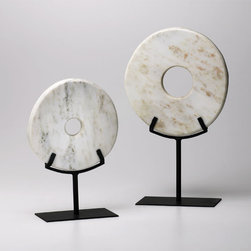 Small White Disk On Stand - *Small White Disk On Stand