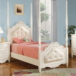 Acme Furniture - Pearl White Finish Twin Poster Bed with Leather Headboard - 110 - Leather headboard and footboard