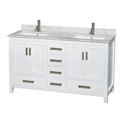 "60"" Double Bathroom Vanity in White, Countertop, Undermount Sink - Distinctive styling and elegant lines come together to form a complete range of modern classics in the Sheffield Bathroom Vanity collection. Inspired by well established American standards and crafted without compromise, these vanities are designed to complement any decor, from traditional to minimalist modern."
