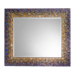 "Mosaic Mirror - Blue & Green (Handmade), 30"" X 24"", Horizontal - MIRROR DESCRIPTION"
