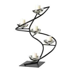Joshua Marshal - Iron Spiral Candle Holder In Black / Chrome - Iron Spiral Candle Holder In Black / Chrome