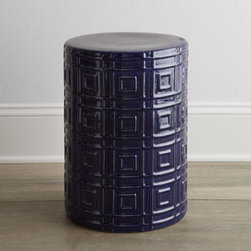 "Horchow - Embossed Garden Stool - A rich cobalt blue coloration and an embossed squares design give this round garden stool eye-catching appeal. Designed by Barclay Butera. Made of earthenware. 12.5""Dia. x 17.75""T. Imported. Boxed weight, approximately 19 lbs. Please note that th..."