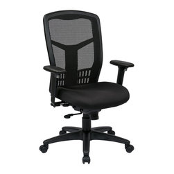 Office Star - Office Star ProGrid High Back Managers Chair With 2-to-1 Synchro Tilt Control - ProGrid High Back Managers Chair with Adjustable Arms and Seat Slider with Titanium Finish Frames. Breathable ProGrid Back with Built-in Lumbar Support. 3 Position Locking 2-to-1 synchro Tilt Control and Seat Slider. Black Fabric Padded Seat. Heavy Duty Nylon Base with Oversized Dual Wheel Carpet Casters. What's included: Office Chair (1).