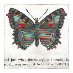 Kathy Kuo Home - Colorful Butterfly Reclaimed Wood Art Print Wall Art - Large - Transform your space with the bright color, whimsy and sentiment of this unique wall hanging. Each folk art piece is created by hand in Georgia using meaningful motifs and sweet statements, and is available in two sizes. This butterfly will change your room and may change your outlook.