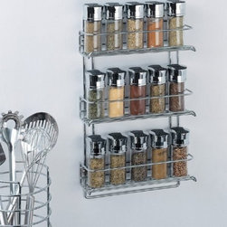 Organize It All 3-Tier Wall-Mounted Spice Rack, Chrome - This three-tier wall-mounted organizer will keep all your spice jars neat and organized.