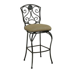 American Heritage - Canterbury Bar Stool in Pepper Finish - Basil microfiber upholstered seat. 360 degree full-bearing return swivel. Uniweld construction. 3 in. cushion. Adjustable leg levelers. Warranty: One year. Made from metal. Weight capacity: 275 lbs. Seat height: 34 in.. Seat: 18 in. W x 17 in. D. Overall: 18.50 in. W x 16.25 in. D x 49.5 in. H