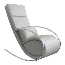 White Line Imports - Chloe Rocker Chair in Gray with Ottoman - Features:
